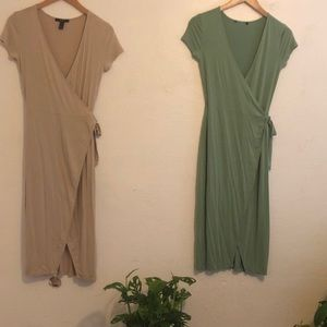 (2) Forever 21 Green & Tan Wrap Dresses